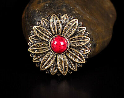 10PC 30MM Red Turquoise Flower Tandy Leathercraft Concho Antique Brass Screwback