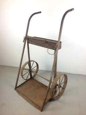 Antique Country Farm Cast Iron Garden Flower Market Wheel Cart Stand Holder Art