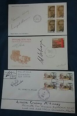kerryyw 3 Canadian Signed Fdc by Artist,Polotician,or Postaster, 1973,74,81