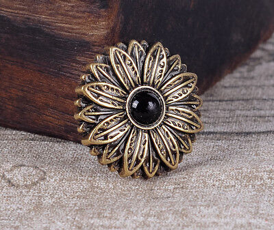10PC 30MM Black Turquoise Flower Tandy Leather Conchos Antique Brass Screwback