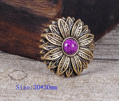 10PC 30*30MM Flower Craft Concho with Purple Turquoise Antique Brass Screwback