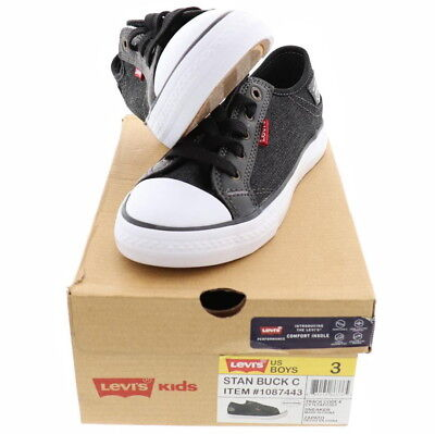 Levi's Boys Shoes Black DENIM Kids Size 1 2 3 4 12 13 Sport Athletic Stan G NEW!