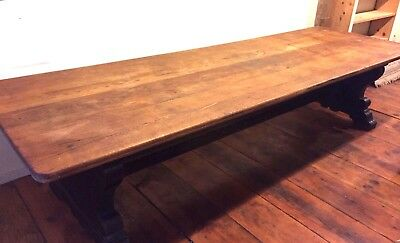 "Antique Harvard University Trestle Table- Oak- Gorgeous! 132"" x 42"" x 30"""