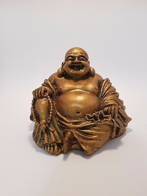 Laughing/Happy Buddha Statue, Sitting Bronze/Gold Finish 90mm