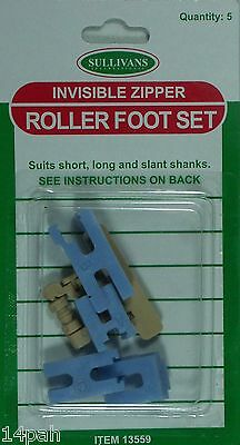 Invisible Zipper Universal Roller Foot Set suits most makes of sewing machines