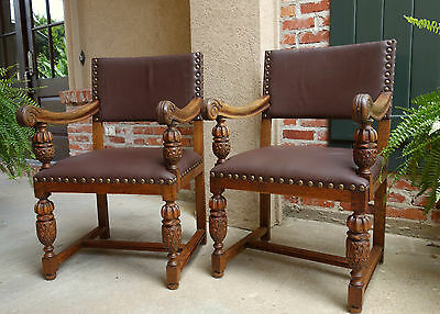 PAIR 2 Antique English Carved Oak Arm Dining Desk CHAIR Leather Brass Jacobean