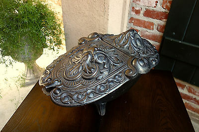 Antique French Gothic Victorian Cast Iron Fireplace Hearth Coal Hod Black