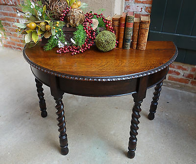 Antique English DEMILUNE TABLE Carved Tiger Oak BARLEY TWIST Foyer Console Table