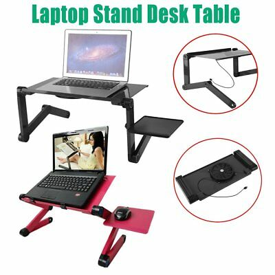 Portable Laptop Desk With One Cooling Fan Table Tray With Mouse Holder AU ON~