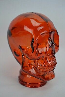 New Glass Skull Mannequin Head Display, Amber Orange - Life Size Spain Halloween
