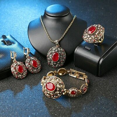 Vintage ancient patterned rustic gold plated style women's 4 pc ruby jewelry set
