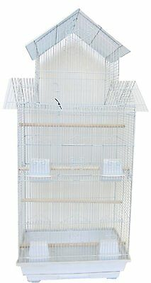 "YML A6844 3/8"" Bar Spacing Tall Pagoda Top Small Bird Cage, White, 18"" x 14"""
