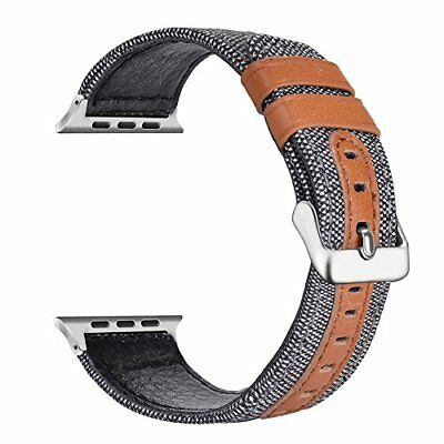 LOYUT Apple Watch Band for 38mm Genuine Leather & Canvas Fabric Woven Strap Grey