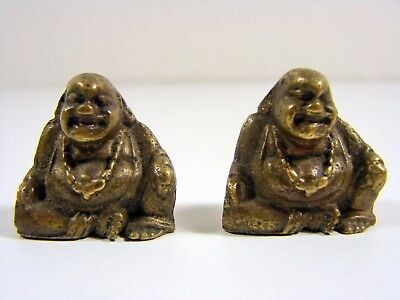 Lot 2 Chinese Antique Miniature Bronze Buddha Figurines Opium Weights Not Signed