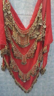 BELLYDANCE COIN BELT-wrap COIN, SEQUIN DANGLES-heavy red with gold dangles