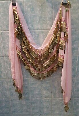 BELLYDANCE COIN BELT-wrap COIN, SEQUIN DANGLES-pink with dangles