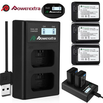 NP-FW50 Battery for Sony Alpha A6000 A6300 A6500 A7r A7 7R+&LCD Dual USB Charger