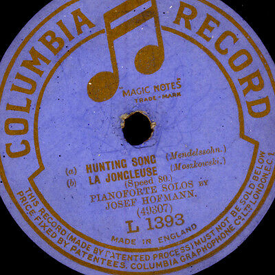 JOSEF HOFMANN -PIANO- Hunting Song / La Joncleuse / Valse Cracile  78rpm G3131