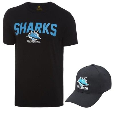 Cronulla Sharks 2018 NRL Mens T-Shirt & Hat Combo Logo Tee Cap BNWT Rugby League