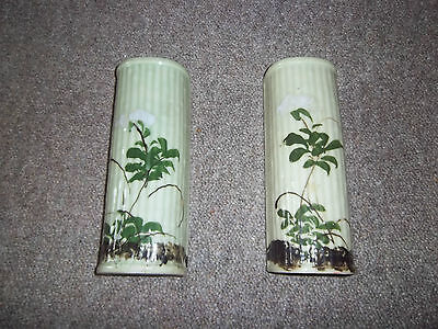wall pockets pair china/ pottery flower design orietal feel