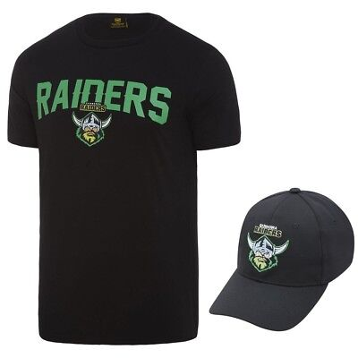 Canberra Raiders 2018 NRL Mens T-Shirt & Hat Combo Logo Tee Cap Rugby League