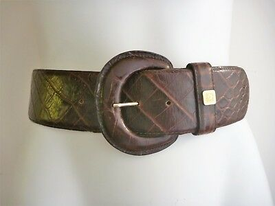 Vintage 80s 90s Anne Klein OROTON BELT Leather BROWN CROC Look WIDE WAIST CINCH
