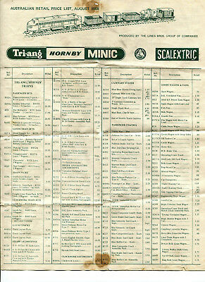 2 x Triang Australia model railway price lists, 1968 & 1970