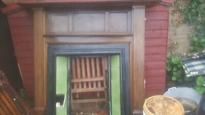 Genuine Edwardian 1907 Oak Fire Surround and cast iron with tile insert