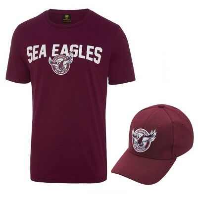 Manly Warringah Sea Eagles 2018 NRL Mens T-Shirt & Hat Combo Logo Tee Cap Rugby
