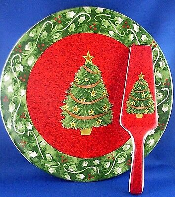 (NU) MAINE & CRAWFORD Porcelain Christmas Tree Cake Plate & Server - Australia