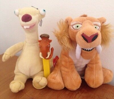 """8"""" Diego Sabre tooth tiger Ice Age 4 + TY Sid soft toy Plush, Manny pez FREE p&p"""