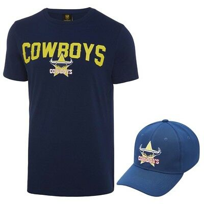 North Queensland Cowboys 2018 NRL Mens T-Shirt & Hat Combo Logo Tee Cap Rugby