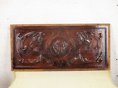 Vintage Hand Carved Wooden Wall Panel Plaque Angel Gothic two Evil Men