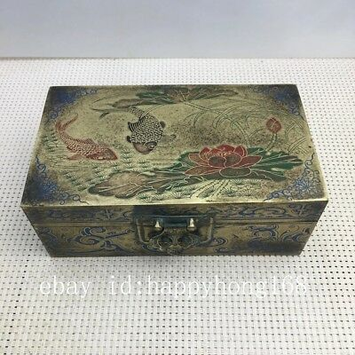Chinese old Copper hand engraving  zoology fish Storage Jewelry Box
