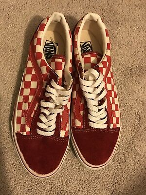 Vintage Vans Old Skool 90's Red/White Check Color Sneakers size 8.5 Made in USA