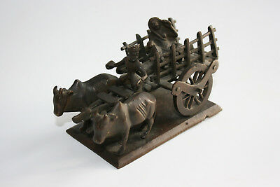 Old Oriental Indian Bronze Carved Cow/Ox Carriage Figures Model