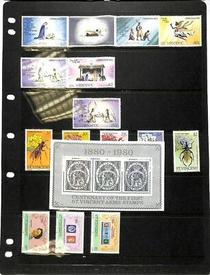 [OP327] St Vincent lot of stamps on 12 pages - see photos in description