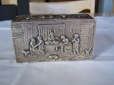 Antique GERMAN 800 SILVER Highly Embossed SNUFF TRINKET BOX Hallmarked