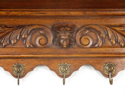 Vintage hand Carved Wood Wall Shelf Coat Hat Kitchen Rack Medusa Lion Head Hooks