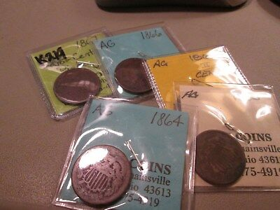 Group Of 5 Two Cent Pieces Low Grade Readable Dates