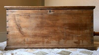 Antique wooden bedding chest candle blanket box trunk