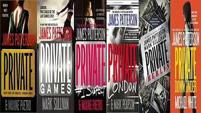 """Lot of 7 James Patterson """" Private  """" Books featuring Jack Morgan-Paperbacks"""