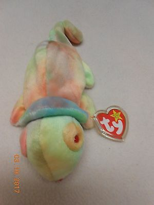 MWMT Ty beanie baby Rainbow the Chameleon Rare PE Pellets 1997 plush Stocking St
