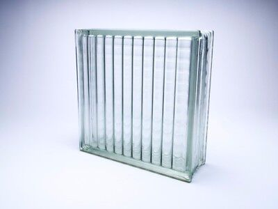 "Vintage Architectural Glass Building Block Ribbed Pattern 12"" x 12"" x 4"""