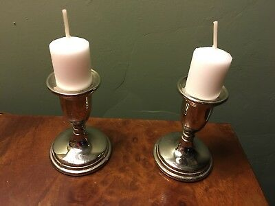 Antique Vintage Pair Small Silver Plated Candlesticks