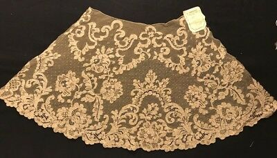 """Antique Made in France Large Exceptional Jabot Flounce  14"""" long, 12"""" wide top,"""