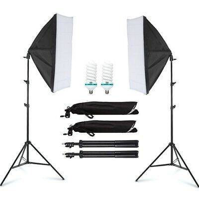 Photography Studio Softbox E27 Continuous Lighting Soft Box Light Stand Kit New