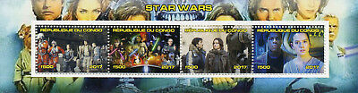 Congo 2017 CTO Star Wars Rey Finn 4v M/S I Movies Stamps