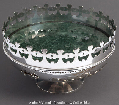 Antique JESUIT Silver Plated FRUIT BOWL Irish Church GOTHIC IHS Shamrock 10""