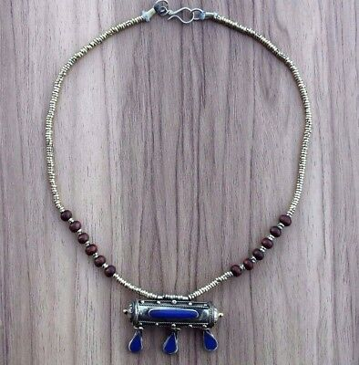 Vintage Antique Afghan Kuchi Lapis Box Necklace Talisman Tribal Handmade Old